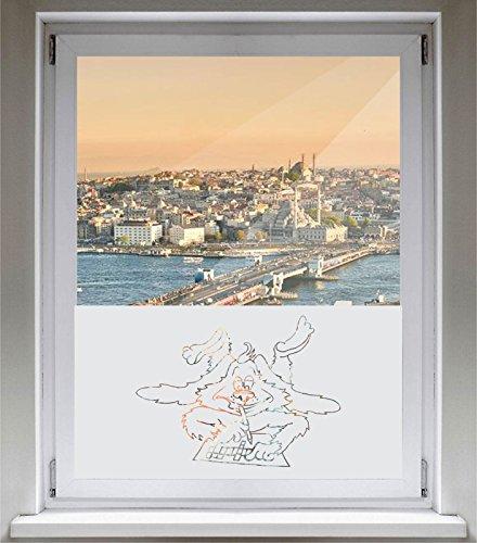 INDIGOS UG Sichtschutzfolie Glasdekorfolie Fensterfolie mit Motiv satiniert Blickdicht - E867 Schöner Hunde XXX - 1000 mm Länge - 500 mm Höhe Viereck