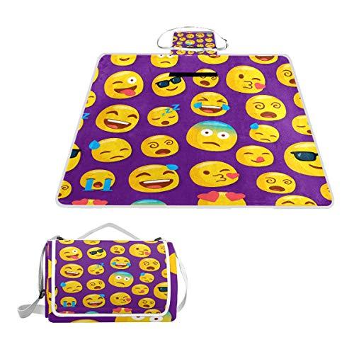 LZXO Jumbo-Picknickdecke, faltbar, lustige Emoticons, Smiley-Muster, groß, 145 x 150 cm, wasserdicht, handliche Matte, kompakt, Outdoor-Matte mit Griff für Outdoor-Aktivitäten, Camping, Wandern.