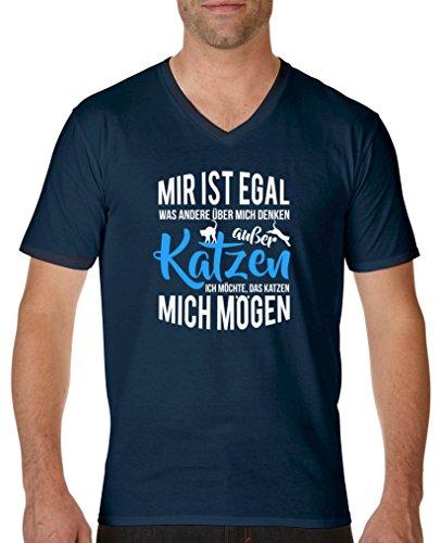 Comedy Shirts – Mir ist Egal Was Andere über Mich Denken, excepté Les Chats – Col en V – 100% Coton, Manches Courtes Top Basic - Bleu - S