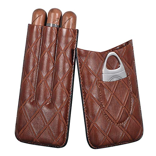 Volenx Plaid Pattern Leather Cigar Case, 3-Finger Travel Humidor Cigar Box with Cigar Cutter, Father