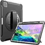 ProCase Funda Rugerizada para iPad Pro 11' 2020 2018 [Apoya Carga Inalámbrica de Apple Pencil], Funda Resistente Antigolpes con Soporte Giratorio para iPad Pro 11' Pulgadas 2ª / 1ª Generación - Negro