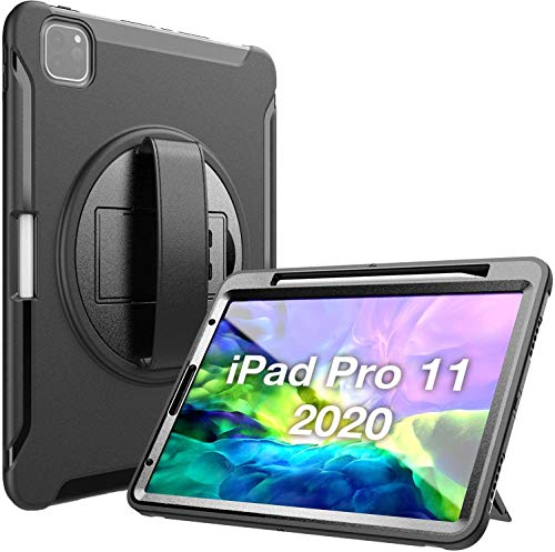"""ProCase Funda Rugerizada para iPad Pro 11"""" 2020 2018 [Apoya Carga Inalámbrica de Apple Pencil], Funda Resistente Antigolpes con Soporte Giratorio para iPad Pro 11"""" Pulgadas 2ª / 1ª Generación - Negro"""