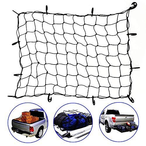 WarmCare Red elástica de carga ajustable de 119,4 x 91,4 cm para SUV, camioneta, camión, cama, portaequipajes de viaje, con 12 ganchos de nailon resistentes