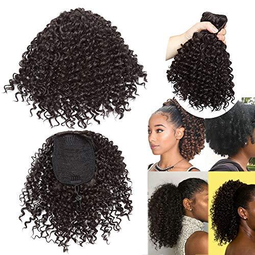 Clip in Paard Hoofd Afro Chignon Clip in Krullend Haarverlenging Clip Elastische Koord Haar Scrunchie 20 cm Haarstukken Vrouw 130g - Donker Bruin