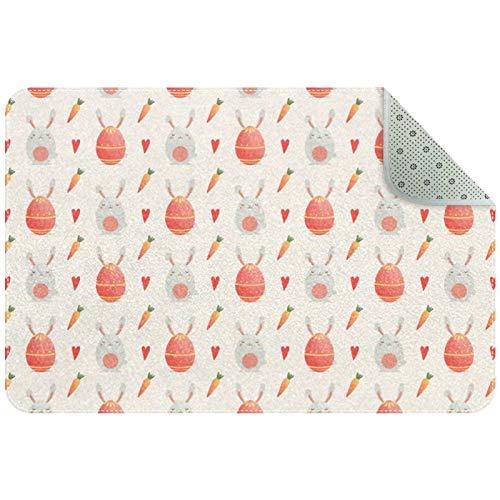 Bennigiry Lindo conejo y huevo de dibujos animados alfombra alfombra alfombra para sala de estar, dormitorio, sala de juegos, 35 x 24 pulgadas