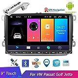 Autoradio 9 pulgadas Reproductor multimedia Audio Estéreo Android Navegación GPS WIFI Espejo Enlace FM Autoradio para V / W Passat Golf MK5 MK6 Jetta T5 EOS POLO Touran Asiento con USB Dongle