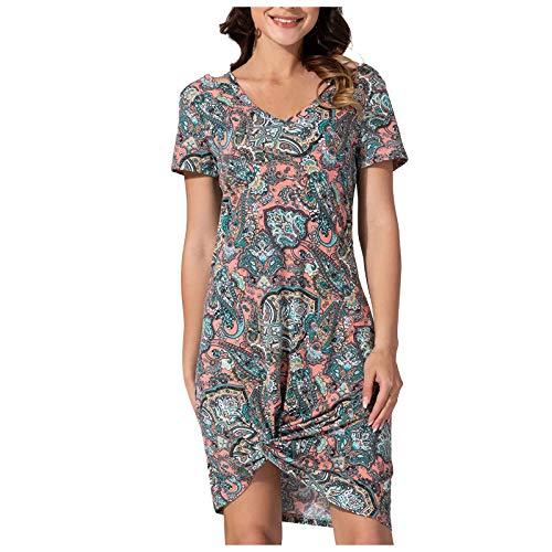 Kpasati Damen Kleid Kurzarm Party Kleid Rundhals Krawatte Schlank Heben die Schönheit von Kurven hervor Freizeitkleidung