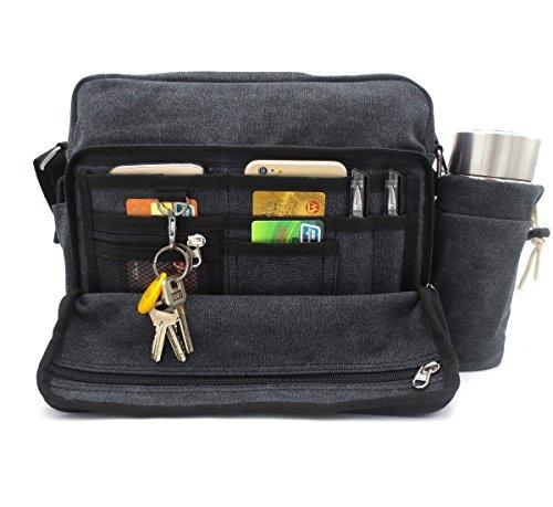 Travel Canvas Messenger Purse Multifunction Versatile Mens Womens Handbag Crossbody Shoulder Bag for iPad Leisure Change Packet with Small Water Bag Black