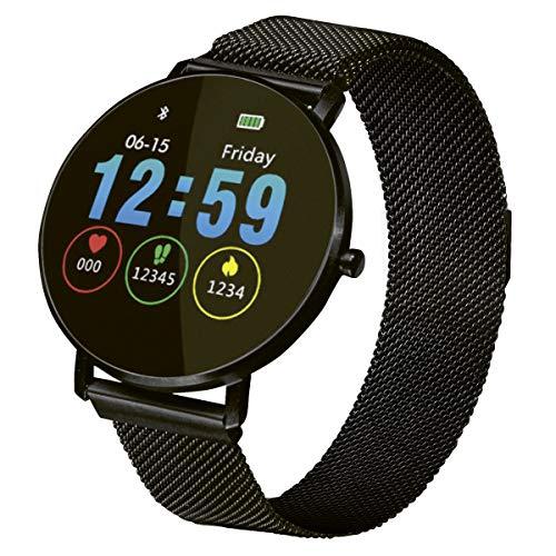 Fitnesstracker mit Herzfrequenz Puls Blutdruck Schlaf Schritte Farbdisplay Smartwatch Metall Armband Uhr - 9707 (Schwarz)