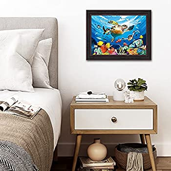 3D Home Wall Art Decor Lenticular Pictures Animal Collection Holographic Flipping Images 12x16 inches Animal Poster Painting Without Frame Underwater World