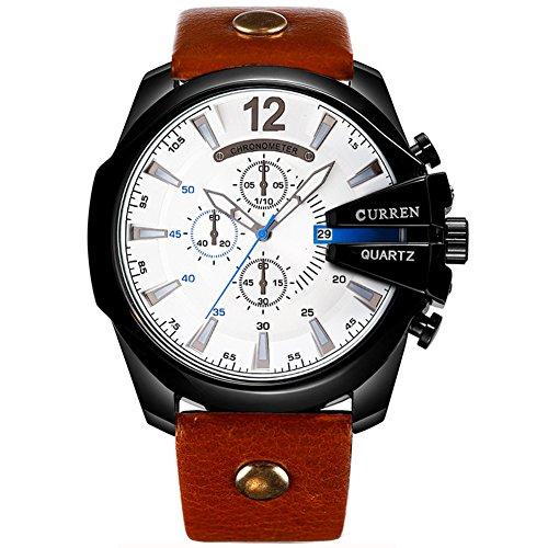 Herren Armbanduhren-Wasserdichtes Japan Movt Quarzuhr Männer Leder Edelstahl Uhren Japanischen Bewegung Curren Sport Uhren Mit Geschenkbox,Whiteblack