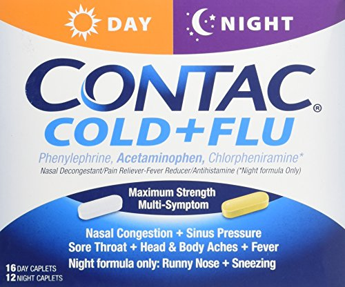 Contac Cld & Flu Day/Nite Size 28ct Contac Cld & Flu Day/Night Caplets 28ct, 3 packs