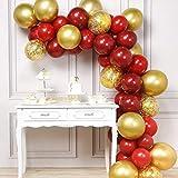 PartyWoo Juego de 66 globos rojos y dorados, color rojo vino, dorado metálico, dorado brillante, para decoración de fiestas, rojo y burdeos