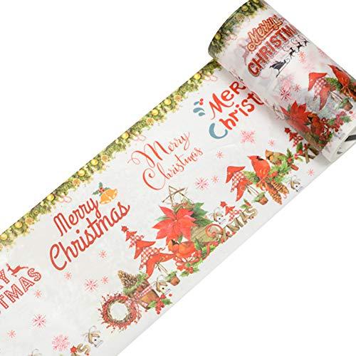 Lumanuby 1x Bunt Weihnachten Tape Masking Washi Papier Dekoband als Aufkleber für Scrapbooking Geschenk Verpackung Deko oder Klebeband Siegel, Klebebänder Serie 9cm*5m (Merry Christmas)