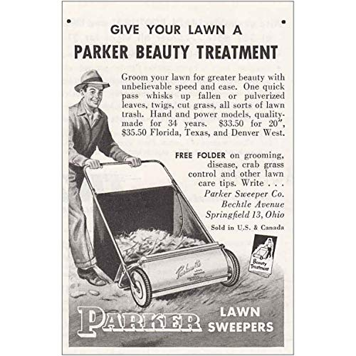 RelicPaper 1955 Parker Lawn Sweepers: Groom Your Lawn, Parker Lawn Sweepers Print Ad