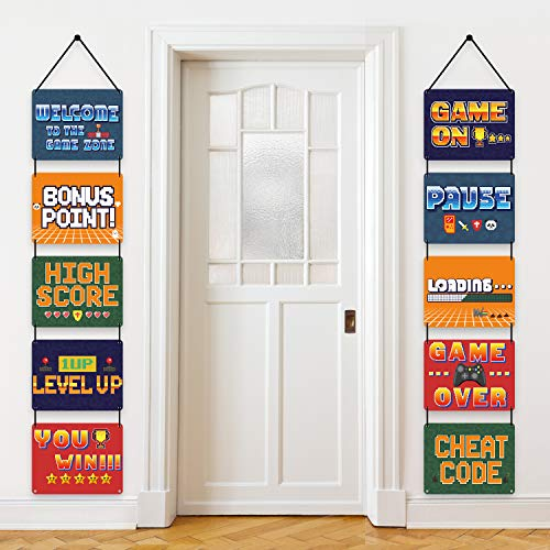 10 Pieces Video Game Sign Cutouts for Video Theme Party Decorations, Birthday Party Favors Arcade...