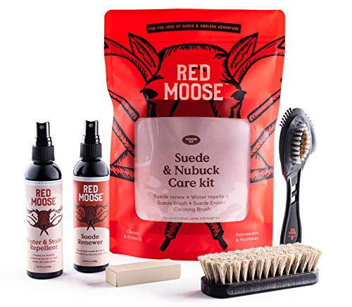 Suede and Nubuck Cleaner Kit - 5pc Shoe Cleaning Set - Water & Stain Protector, Brushes - Red Moose