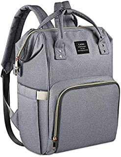 Land Baby Bag Backpack, Stylish Diaper Bag Backpack Designer Baby Back Pack for Mom Dad, Large Capacity Waterproof Baby Nappy Changing Bags for Boys & Girls (Gray)