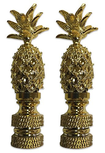 Royal Designs, Inc F-5026PB-2 Royal Designs Vintage ananas Finial voor Lamp schaduw-gepolijst messing Set van 2