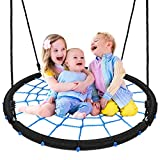 Pitpat 40 Inch Spider Web Swing Flying 660 Lbs Weight Capacity, 2 Adjustable Hanging Straps Multi-Strand Ropes, Colorful Safe and Durable Spider Swing for Kids