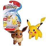 Pack de deux figurines Pokémon Personnages : Pikachu et Evoli Figurines articulées 3-5 cm Collectionnez toutes les figurines Pokémon de Bandai