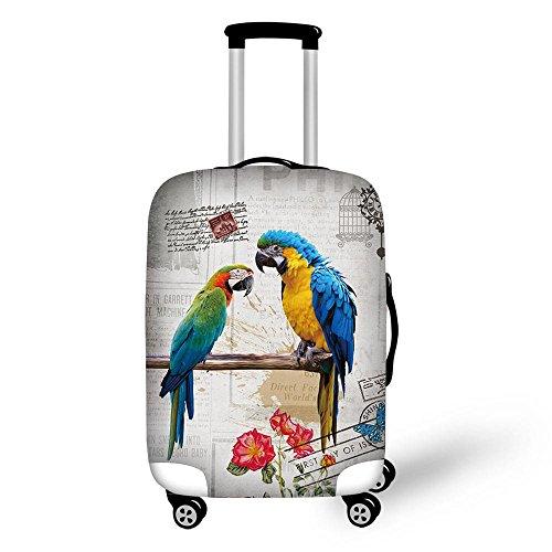 CAIWEI Copertura protettiva per valigia da viaggio, con pappagalli, adatta a bagagli di dimensioni 45,7-76,2 cm Blu Blu M (22'-26' cover)