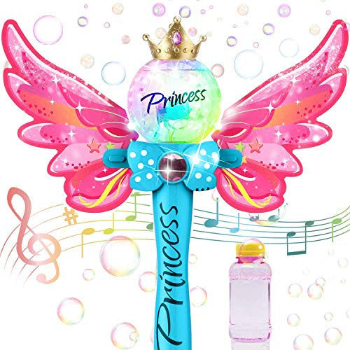 Liberty Imports Fairy Princess Bubble Wand Blower   Kids Magic Light Up Toy Automatic Handheld Bubble Machine Blowing Play Set with Solution for Girls