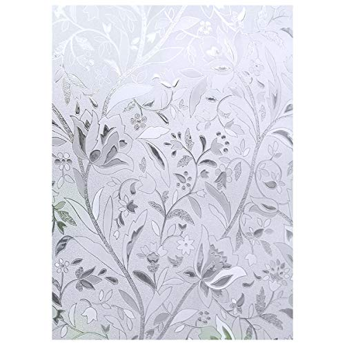 EASEHOME Self Adhesive Window Film, 3D Frosted Glass Window Sticker Privacy Vinyl Window Blinds Decorative Opaque Static Cling Anti-UV 17.3'x78.7'(44x200cm), Tulip Flower Pattern