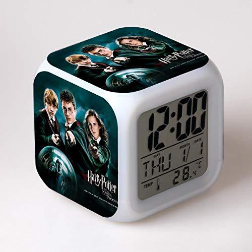 SXWY Harry Potter Digitaler Wecker Kinder Cartoon Wecker Bett Nachtlicht Musik Wach auf Stumm Schreibtisch Kindergeschenke Junge Das Mädchen Jugendliche Bunte Lichter USB-Aufladung (01)