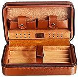 Caja de Puros de Viaje, Humidor de Puros, Caja de Puros portátil con Dos Bolsillos, Caja Decorativa de Puros (Color: Marrón), YKHAO