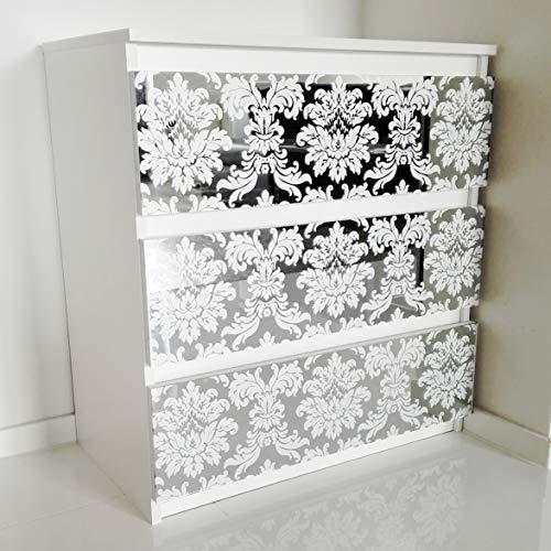 MRC Schubladenkommode Schubladenschrank für Schlafzimmer Wohnzimmer Badezimmer Kommode mit 3 Schubladen Glasfront Glamouröses Sideboard Verspiegeltes Schränkchen Anrichte 77x70x40 cm (Weiß/Vintage)