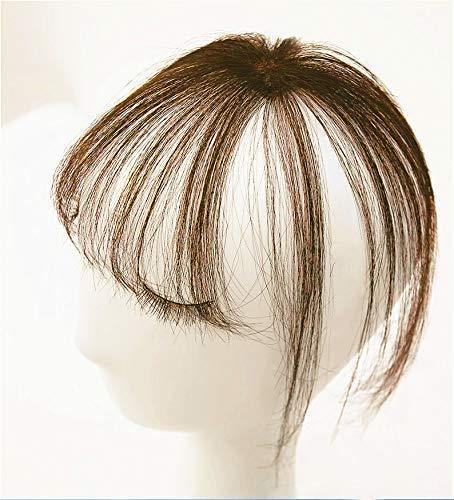 Hetto Bangs Hair Clip on Fringe Bangs Cabello Humano 3D Air Bangs #6 Medium Brown Clip en Extensiones de Cabello Humano Remy Real Thin Air Bang Fringe