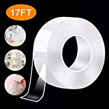 Nano Double Sided Tape Heavy Duty - Multipurpose Removable Traceless Mounting Adhesive Tape for Walls,Washable Reusable Strong Sticky Strips Gel Grip Tape, Carpet Mat Poster Tape for Home Office(17FT)