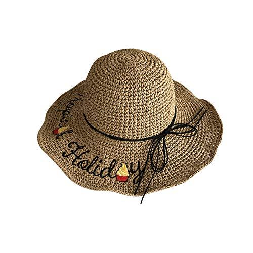 porfeet Sombrero de sol de moda clsico sombrero de playa plegable de tejido de paja sombrero de verano de ala grande grande gorras anchas anti-UV para nias seoras al aire libre caf ligero