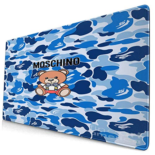 Extended Gaming Mouse Pad with Stitched Edges, Long XXL Mouse Pad (16X30 in), Desktop Pad Keyboard Pad, Non-Slip Base, Waterproof, for Office and Gaming, Office and Home Moschino-Teddy-Bear