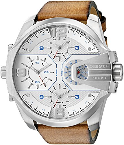Diesel Men's 'Uber Chief' Quartz Stainless Steel and Leather Casual Watch, Color:Brown (Model: DZ7374)