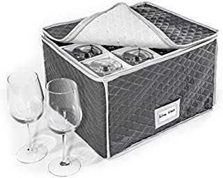 StackStorePlusMore Stemware Storage Case - Quilted Fabric Container in Gray Measuring 16