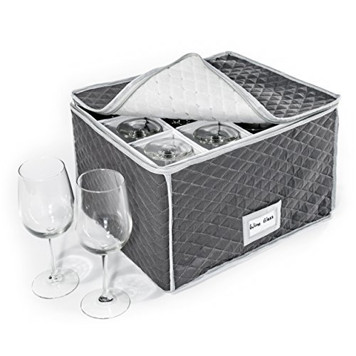 Stemware Storage Case - Quilted Fabric Container in Gray Measuring 16 x 13 x 10H - Inside compartment is 4 x 4 - Perfect Storage Case for White and Red Wine Beer Mugs