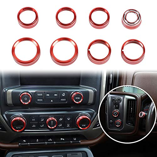 Voodonala for Silverado Radio AC Knobs Air Conditioner Switch Button for 2014-2018 Chevy Silverado, Aluminum Alloy, Red 8pcs