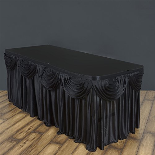 BalsaCircle 14 feet x 29-Inch Black Satin Drape Banquet Table Skirt Linens Wedding Party Events Decorations Kitchen Dining Catering