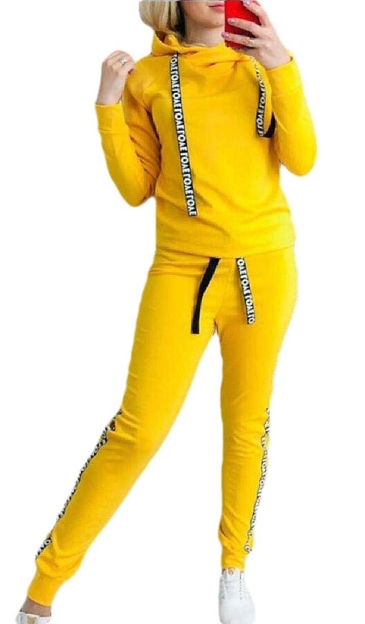 追跡評価拡大するWomen Jogger Sweat Suits Long Sleeve Hooded Sweatshirt and Sweatpants 2 Piece Sports Sets Outfit