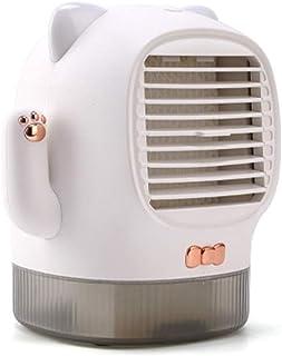 TESITE Mini Ventilador de Aire Acondicionado/Enfriador/humidificador/USB Recargable/Tanque de Agua de 400 ml/con luz Nocturna/para el hogar o la Oficina