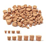 wexpw 100 Pieces Tapered Cork Plugs, Premium Blank Wine Bottle Corks Wine Stoppers Replacement Corks Natural Winecork for Wine Beer Bottle, 10 Sizes