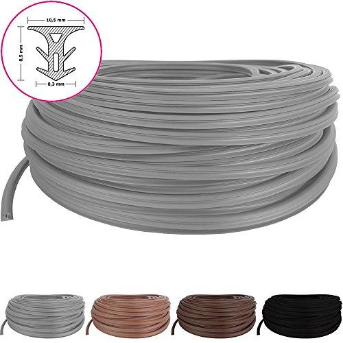 PROHEIM Fugendichtband für Terrassendielen mit Fugenabstand von 5-7,5 mm - Fugenband Länge: 1 Meter - Bodenfüllprofil aus TPE Meterware Zuschnitt - Anzahl = Länge in Metern, Farbe:Grau