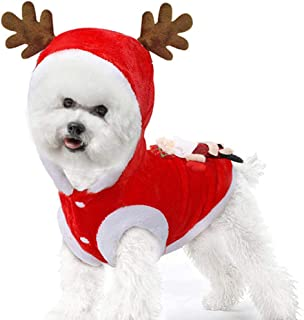 XIMOMO Santa Elk Dog Costume Christmas Pet Hoodie Coat Clothes Doggie Winter Clothing Fit for Pet Puppy