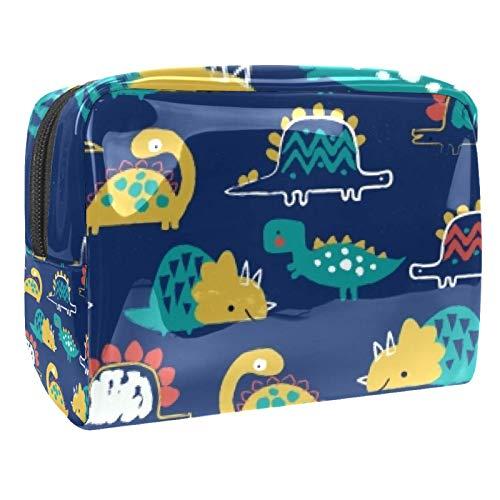 Bolsa de maquillaje portátil con cremallera bolsa de aseo de viaje para las mujeres práctico almacenamiento cosmético bolsa grasa Doodle dinosaurio