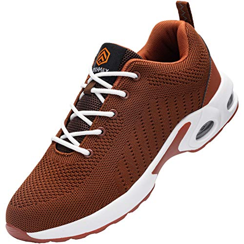 DYKHMILY Zapatos de Seguridad Mujer, Punta de Acero Zapatos Ligero Zapatos de Trabajo Respirable de Seguridad Zapatos con colchón de Aire (Bata marrón 36 EU)