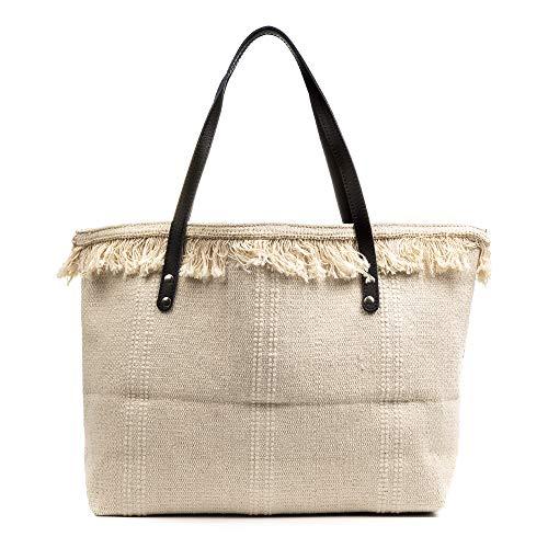 FIRENZE ARTEGIANI. Vala Borsa Shopper Donna. Tessuto Cotone Bouclé .Made in Italy.50x9x36 cm Colore: beige chiaro.