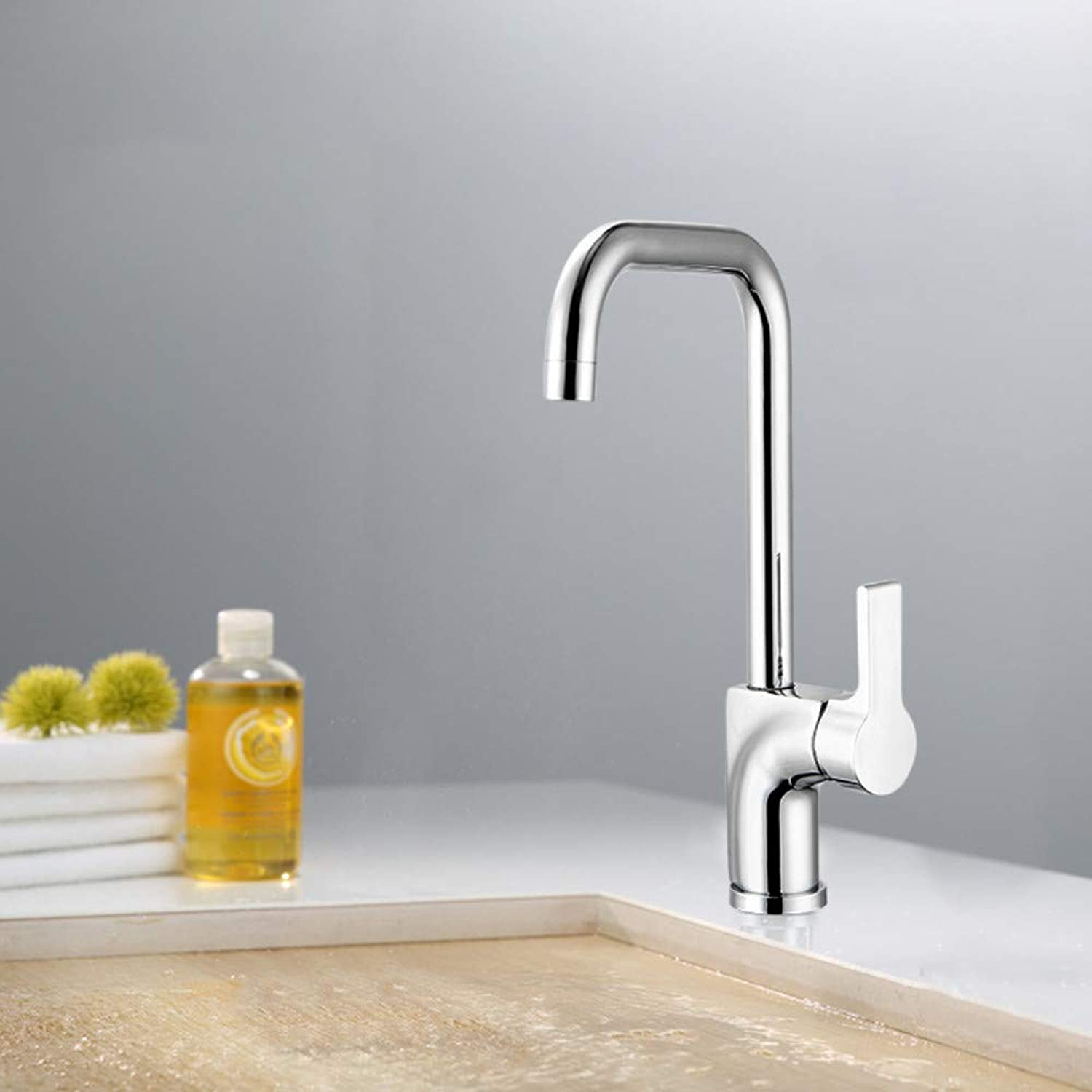 Copper Hot and Cold Water Faucet Kitchen Sink Large Curved Pipe Faucet 360 Degree redation