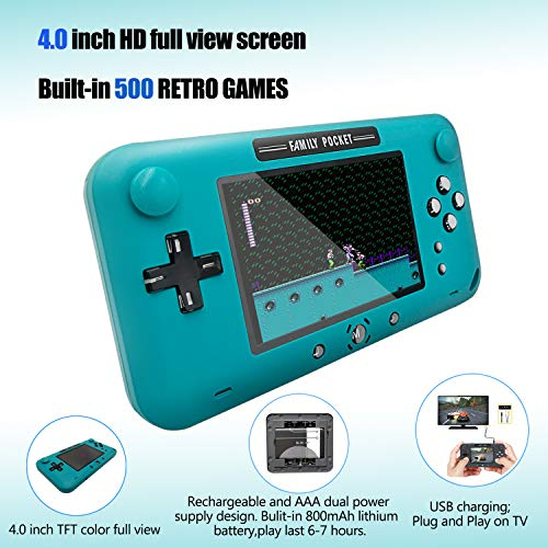 EASEGMER Handheld Games for Kids, Built-in 500 Retro FC Video Games - 4 Inch Portable Video Games Player Support TV/AV Output & Two Player, Best Kids Electronic Gift Toys for Boys Ages 4-12 (Blue)